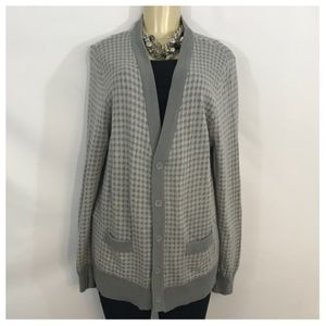 Gray Houndstooth Style Cardigan